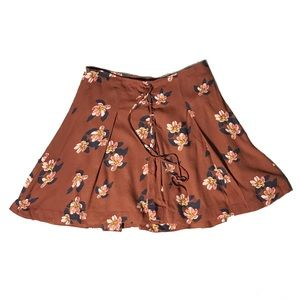 Free People Brown Floral Lace Up Skirt